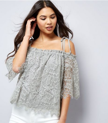Pale Grey Lace Cold Shoulder Top  | New Look