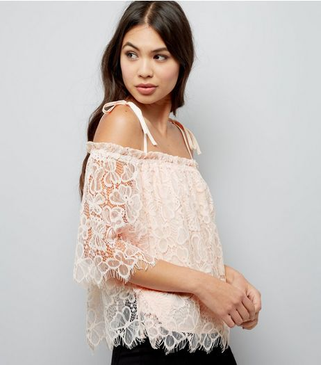 Pale Pink Lace Cold Shoulder Top | New Look