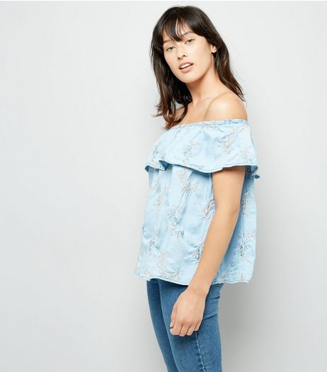 Blue Floral Embroidered Bardot Top | New Look