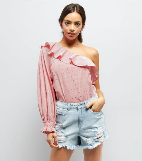 Blue Ripped Fray Hem Sequin Trim Denim Shorts  | New Look