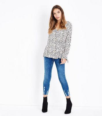 Blue Fray Scratch Hem Skinny Jenna Jeans