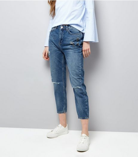 Blue Brooch Trim Ripped Knee Cropped Jeans  | New Look