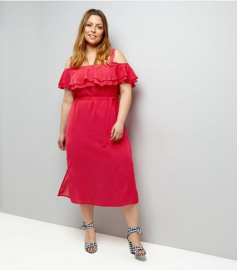 Curves Deep Pink Frill Trim Bardot Neck Midi Dress | New Look