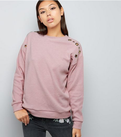 Bright Pink Eyelet Trim Brushed Sweater  | New Look