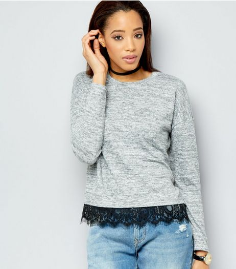 Pale Grey Lace Hem Boxy Top  | New Look