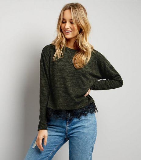Khaki Fine Knit Lace Hem Top | New Look