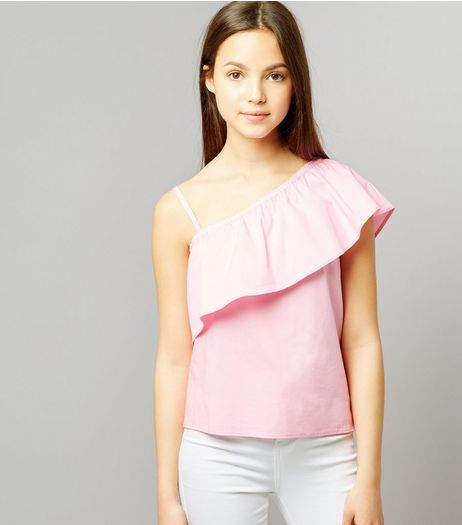 Teens Pink Asymmetric Frill Trim Top | New Look