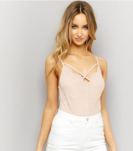 Shell Pink Lace Cross Strap Front Bodysuit  | New Look