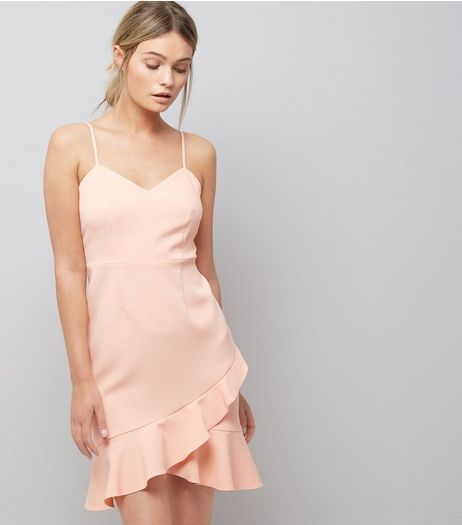 Shell Pink Frill Hem Bodycon Dress | New Look