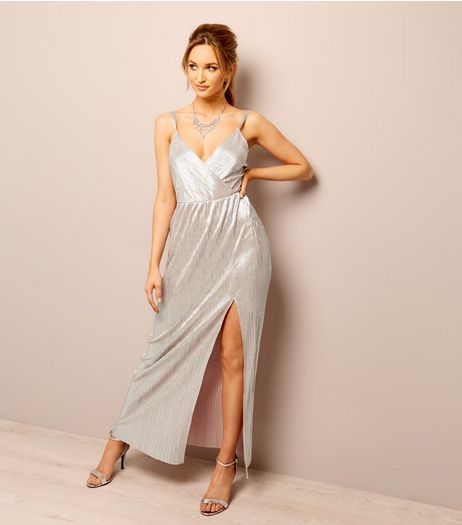 Rose Gold Plisse Cross Strap Maxi Dress | New Look