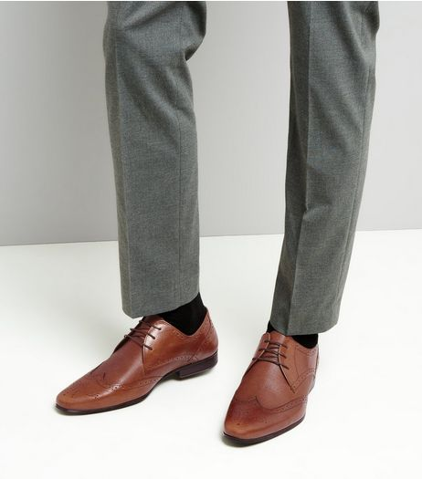 Brown Leather Textured Brogues | New Look