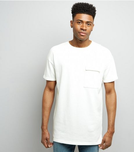 White Short Sleeve Pocket Front Longline Sweater | New Look