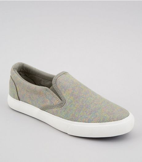 Silver Iridescent Canvas Plimsolls | New Look