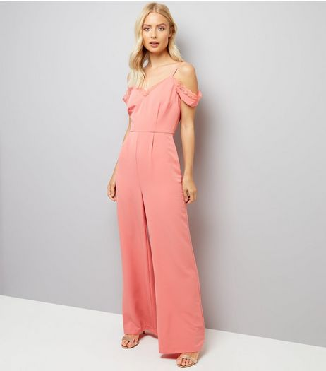 Coral Lace Trim Cold Shoulder Jumpsuit  | New Look