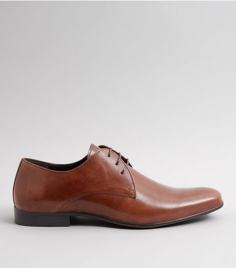 Brown Leather Pointed Derby Shoes | New Look