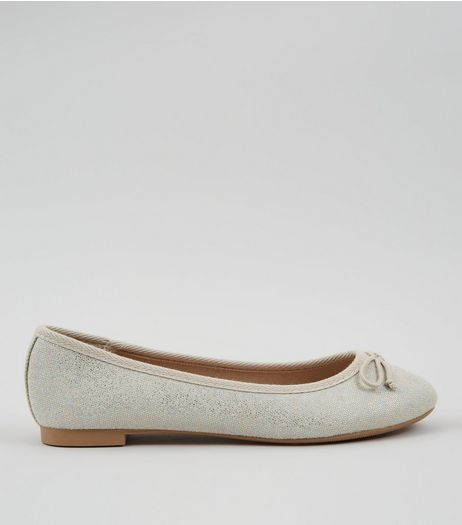 Silver Canvas Ballet Pumps | New Look