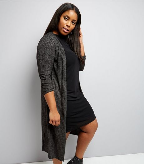 Curves Grey Split Side Midi Cardigan  | New Look