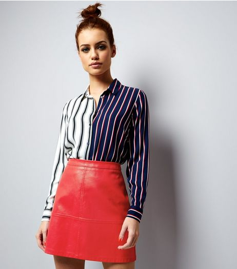 Petite Red Seam Trim Leather-Look Mini Skirt | New Look