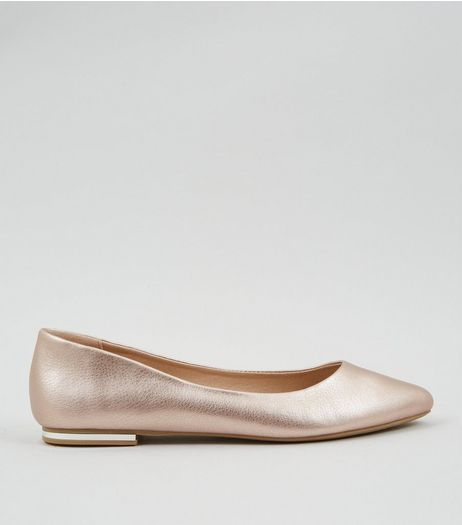 Rose Gold Metal Heel Pointed Pumps | New Look