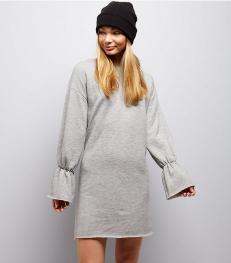 Innocence Grey Elasticated Sleeve Dress  | New Look