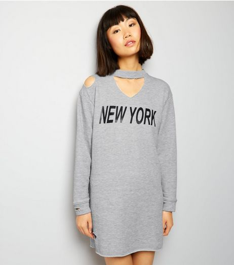 Innocence Grey NYC Cut Out Shoulder Dress | New Look