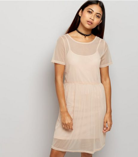 Petite Shell Pink Mesh Smock Dress | New Look