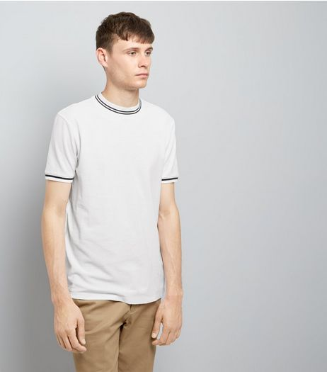 White Contrast Neck Trim T-Shirt | New Look