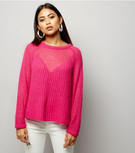 Petite Bright Pink Contrast Knit Jumper | New Look
