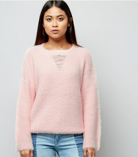 Petite Shell Pink Ladder Front Flare Sleeve Jumper | New Look