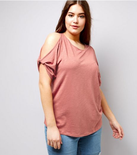 Curves Pink Twist Sleeve Cold Shoulder T-Shirt | New Look