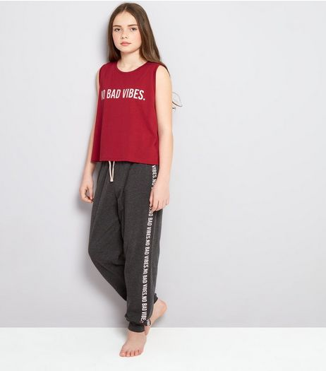 Teens Pink No Bad Vibes Slogan Pyjama Set | New Look