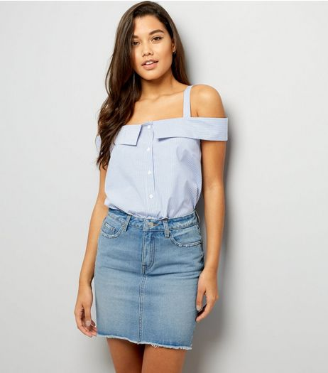 Blue High Waist Distressed Denim Skirt | New Look