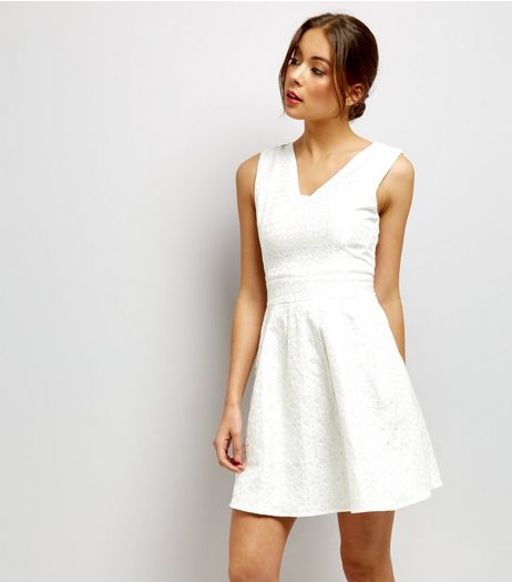 Mela White Floral Embossed V Neck Dress | New Look