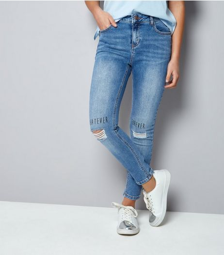 Teens Blue Whatever Forever Slogan Ripped Skinn Jeans | New Look