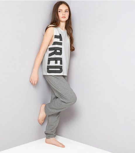 Teens White Tired Print Tank And Joggers Pyjama Set | New Look