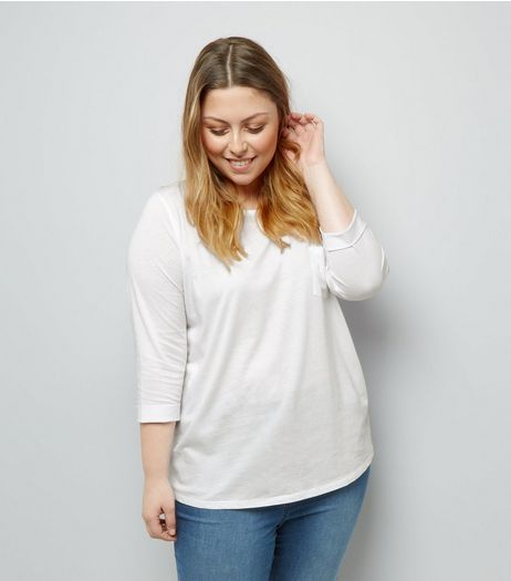 Curves White 3/4 Sleeve Single Pocket Top | New Look