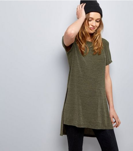 Khaki Split Side Longline T-Shirt  | New Look
