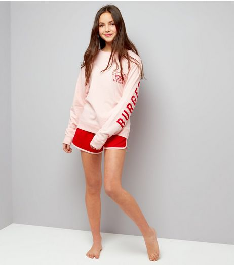 Teens Shell Pink Burgers For Life Slogan Pyjama Set | New Look