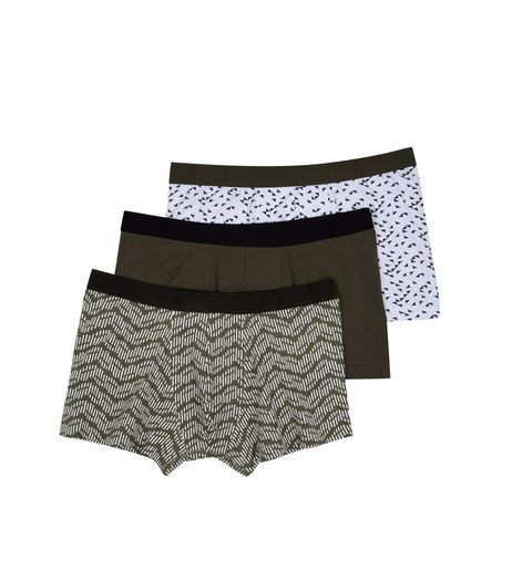 3 Pack Khaki Printed Trunks  | New Look