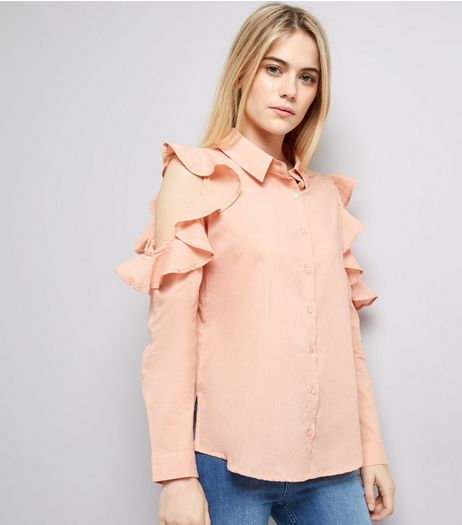 Influence Shell Pink Frill Trim Cold Shoulder Shirt | New Look