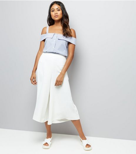Petite White Wide Leg Cropped Trousers | New Look