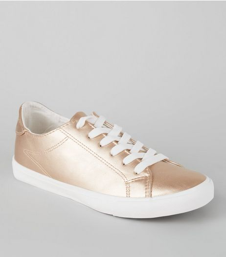 Rose Gold Metallic Lace Up Trainers | New Look