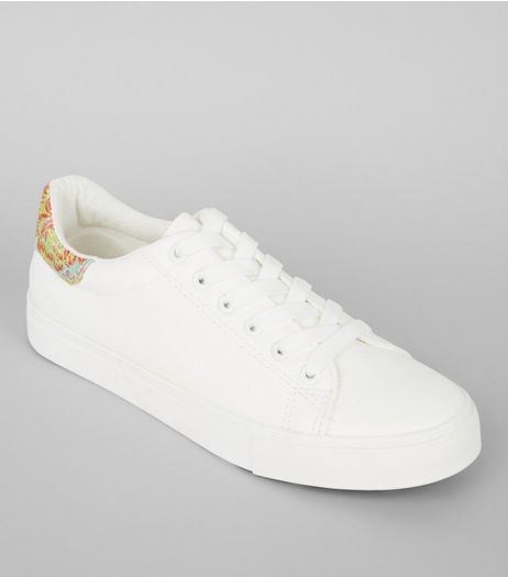 White Floral Brocade Trim Trainers | New Look