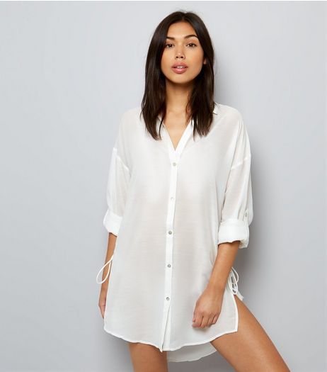 White Tie Side Beach Shirt | New Look