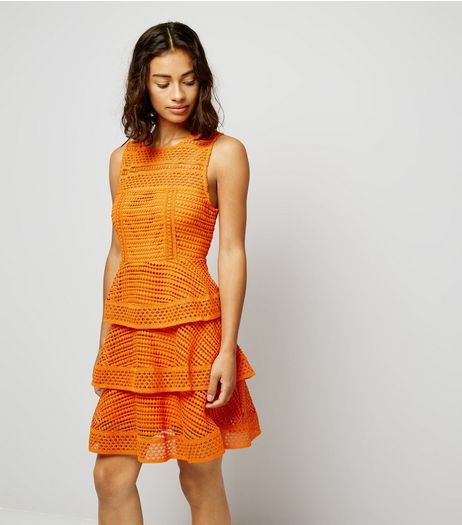 Petite Orange Premium Tiered Lace Dress | New Look