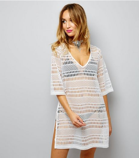 White Mesh Kaftan | New Look