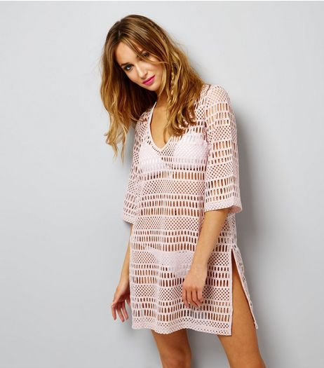 Pink Mesh Kaftan | New Look