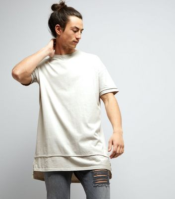 Grey Layered Longline T-Shirt