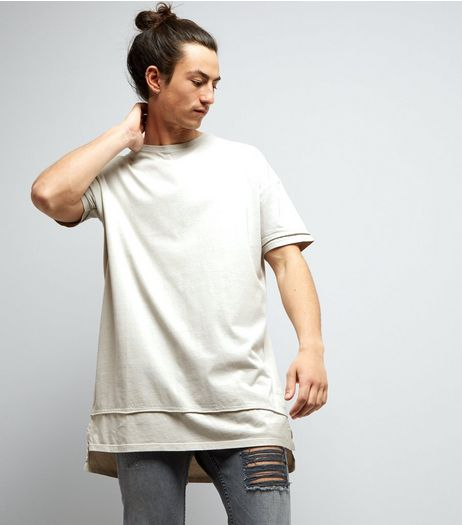 Grey Layered Longline T-Shirt | New Look
