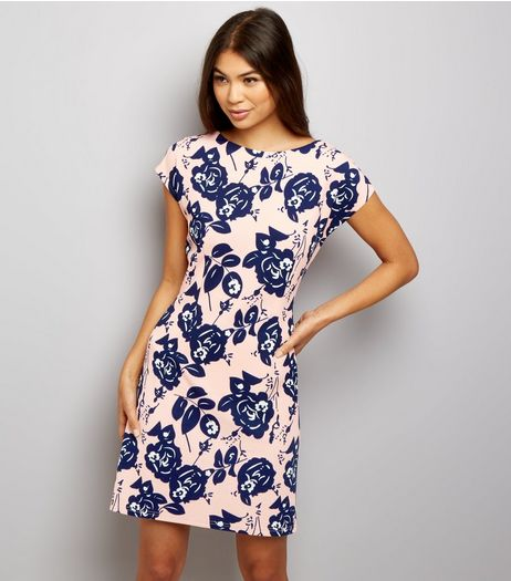 Mela Shell Pink Floral Print Dress  | New Look